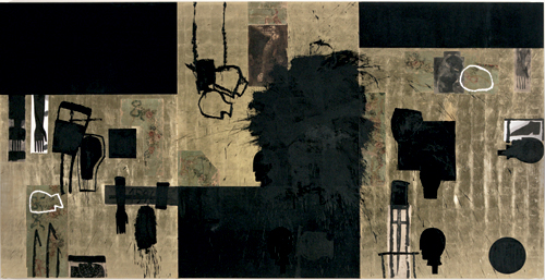Mimmo Paladino,          <em>Un treno per Dulcinea</em>, 2005.   Mixed media on gold leaf on board (triptych), 118 1/8 x 236 1/4 in/300 x 600 cm. © The artist, courtesy Waddington Galleries, London.