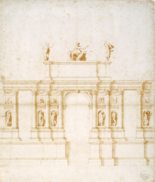 Andrea Palladio (1508–1580). Project for an alternative entrance to the Rialto Bridge, after May 1566 and before 1570. Pen, ink and wash, 55.0 x 42.8 cm. Pinacoteca Civica, Vicenza