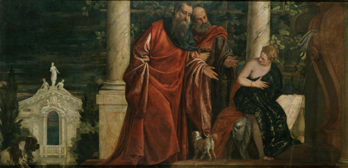 Paolo Veronese (1528–88). <em>Susanna and the Elders</em>, c. 1585–88. Oil on canvas 140 x 280 cm. Kunsthistorisches Museum, Vienna