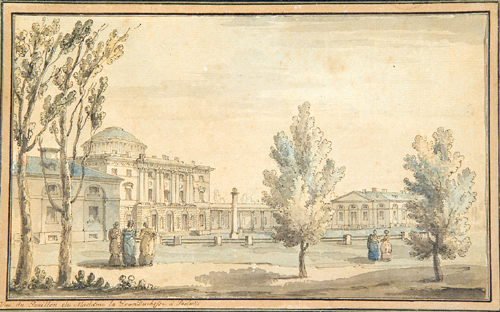 Giacomo Quarenghi (1744–1817). V<em>iew of Pavlovsk</em>, c. 1786. Pen and polychrome watercolour, 17 x 27.4 cm. Pervaleriano Angelini, Bergamo. Photo Luca Lucchetti