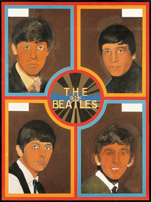 Peter Blake (1932 - ).        <em>The Beatles 1962 </em>(1963-68).  1220 x 916 mm,  Oil on board.  Pallant House Gallery, Chichester. Wilson Gift and Loan.