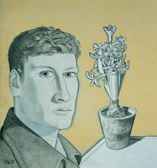 Lucian Freud (1922 - ).        <em>Self-Portrait with Hyacinth in Pot</em> (1947-48).  447 x 415 mm,  Pastel on paper.  Pallant House Gallery, Chichester. Wilson Gift and Loan.