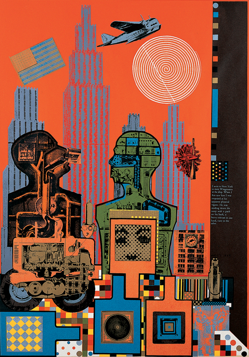Eduardo Paolozzi (1924–2005).        <em>Wittgenstein in New York from 'As is When'</em> (1965).  800 x 550mm,  Screen print on paper.  Pallant House Gallery, Chichester. Wilson Gift and Loan.