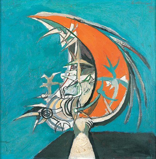 Graham Sutherland (1903&ndash;1980), <em>Thorn Head</em> (1947).  409 x 409mm,  Oil on canvas.  Pallant House Gallery, Chichester. Hussey Bequest .