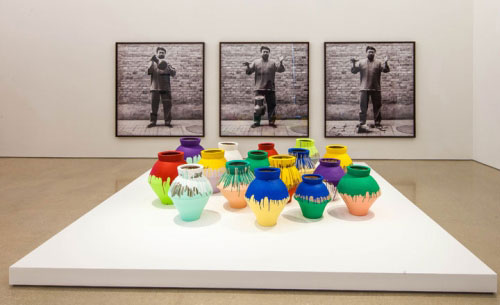 Ai Weiwei: According to What?. From top to bottom: Dropping a Han Dynasty Urn, 1995/2009; Coloured Vases, 2007-2010.  Installation view Pérez Art Museum Miami. Photograph: Daniel Azoulay photography.
