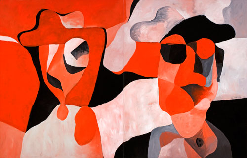 Antonio Malta Campos. Figures in Red, 2004. Oil on canvas, 230 x 360 cm. © Antonio Malta Campos, 2004. Image courtesy of the Saatchi Gallery, London.