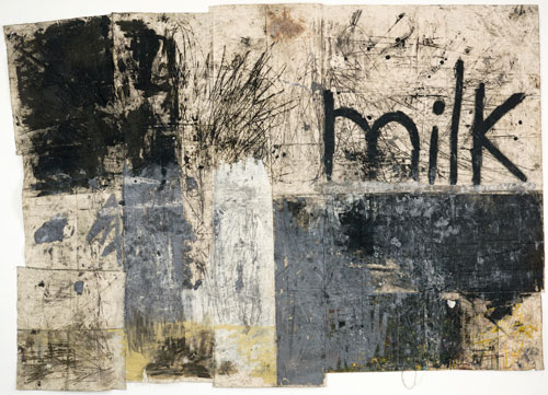 Oscar Murillo. Dark Americano, 2012. Oil and dirt on canvas, 304.8 x 429.3 cm. © Oscar Murillo, 2012. Image courtesy of the Saatchi Gallery, London.