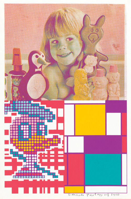 Eduardo Paolozzi. Donald Duck meets Mondrian from Moonstrips Empire News Volume 1, 1967, screenprint. © The Trustees of The Paolozzi Foundation.