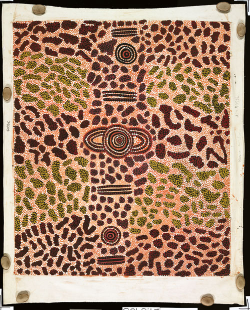 Long Jack Phillipus Tjakamarra. <em>Wilkinkarra Men&rsquo;s Camp,</em> 1975. Synthetic polymer paint on canvas, 2,010 x 1,720 mm. All works &copy; the artists or their estates and licensed by Aboriginal Artists Agency, 2007
