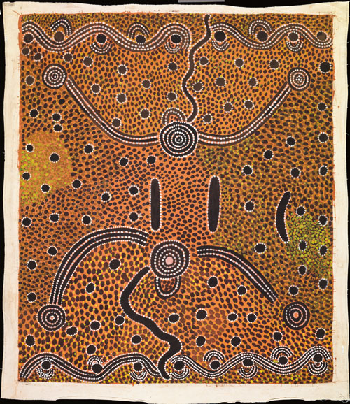 Dinny Nolan Tjampitjinpa. <em>Yawalyurru,</em> 1975. Synthetic polymer paint on canvas, 2,010 x 1714 mm. All works &copy; the artists or their estates and licensed by Aboriginal Artists Agency, 2007