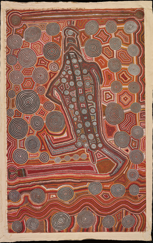Uta Uta Tjangala. <em>Yumari,</em> 1981. Synthetic polymer paint on canvas, 2,268 x 3,672 mm. All works &copy; the artists or their estates and licensed by Aboriginal Artists Agency, 2007