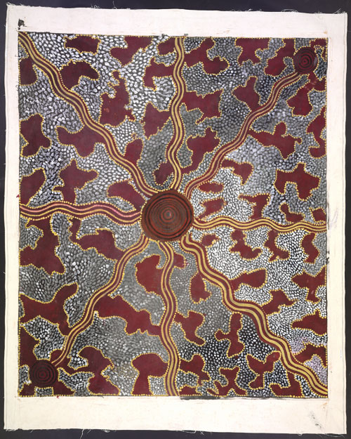 Tim Leura Tjapaltjarri. <em>Honey Ant Hunt, </em>1975. Synthetic polymer paint on canvas, 1,995 x 1710 mm. All works &copy; the artists or their estates and licensed by Aboriginal Artists Agency, 2007