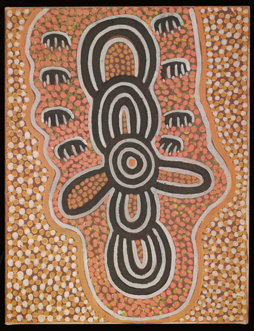 Mick Namararri Tjapaltjarri. <em>Flying Dingoes,</em> 1974. Synthetic polymer paint on canvas, 796 x 614 mm. All works &copy; the artists or their estates and licensed by Aboriginal Artists Agency, 2007