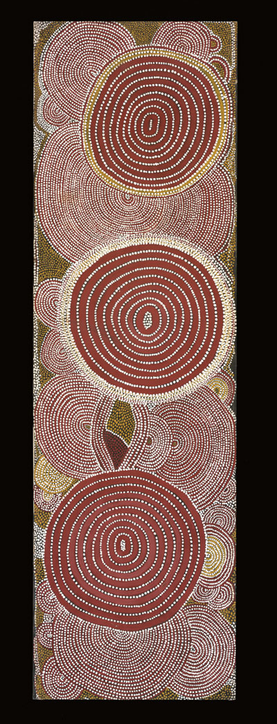 Shorty Lungkarta Tjungurrayi. <em>The Two Women Dreaming,<strong> </strong></em>1975. Synthetic polymer paint on canvas, 1,652 x 496 mm. All works &copy; the artists or their estates and licensed by Aboriginal Artists Agency, 2007