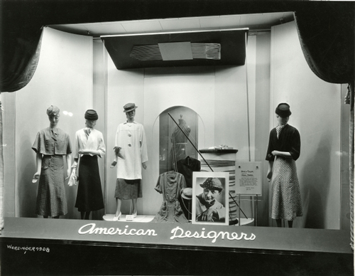 Window display devoted to American designers at Lord & Taylor, New York, photograph by Worsinger, 1933. Museum of the City of New York; Gift of Lord & Taylor