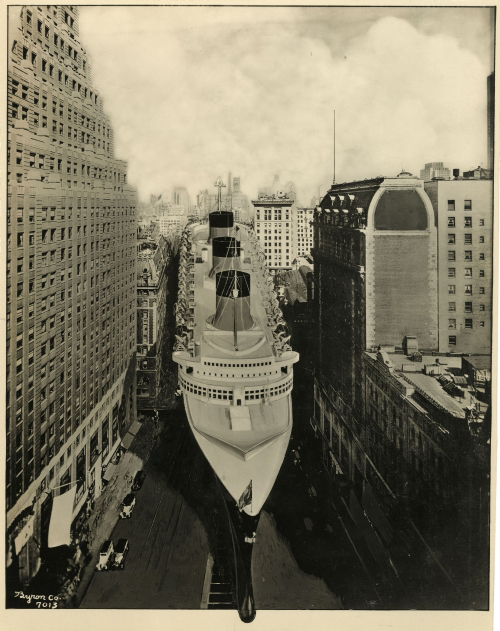 Promotional photograph of the Normandie superimposed on New York City streets, photograph by Byron Co., 1934. Museum of the City of New York; Byron Collection (93.1.1.11962)