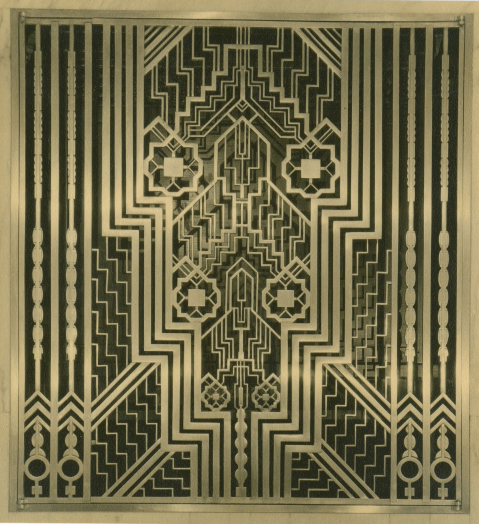 Detail of radiator grille from the Squibb Building, New York, designed by Buchman & Kahn, photograph by Sigurd Fischer, c. 1930. Museum of the City of New York, Gift of Kahn and Jacobs, Architects