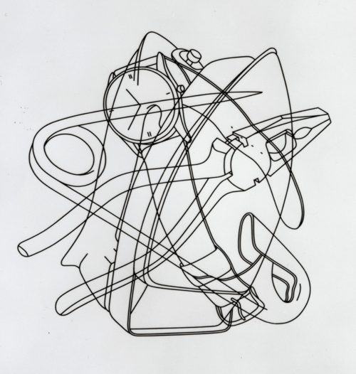 Michael Craig-Martin. <em>Picturing: Iron, Watch, Pliers, Safety Pin</em>, 1978. Plastic tape on acetate, 41.5 X 59 cm.  © The Artist. Courtesy British Council Collection.
