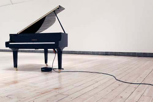 Katie Paterson. Earth–Moon–Earth (Moonlight Sonata Reflected from the Surface of the Moon), 2007. Disklavier grand piano. Installation view (2), Cornerhouse, Manchester 2011. Photograph © We are Tape. Courtesy of the artist.