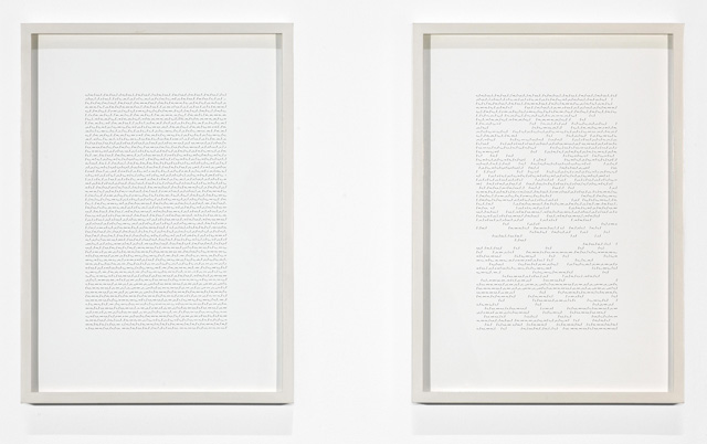 Katie Paterson. Earth–Moon–Earth (Moonlight Sonata Reflected from the Surface of the Moon), 2007. Morse code, ink on paper.
