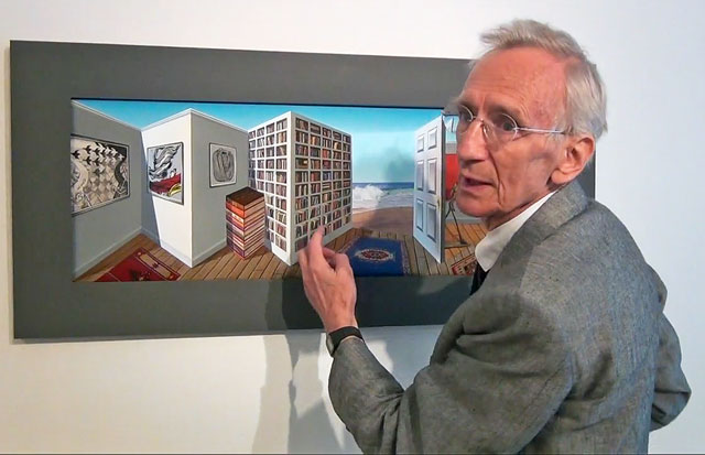Patrick Hughes talking to Studio International at the opening of Superspectivism at Flowers Cork Street, London, April 2013.