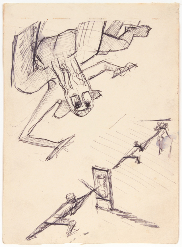 Philip Pearlstein. Angel of Death over Training Soldiers, Summer 1943. Pen and ink on paper, 16.8 x 12.2 cm (6.6 x 4.8 in).