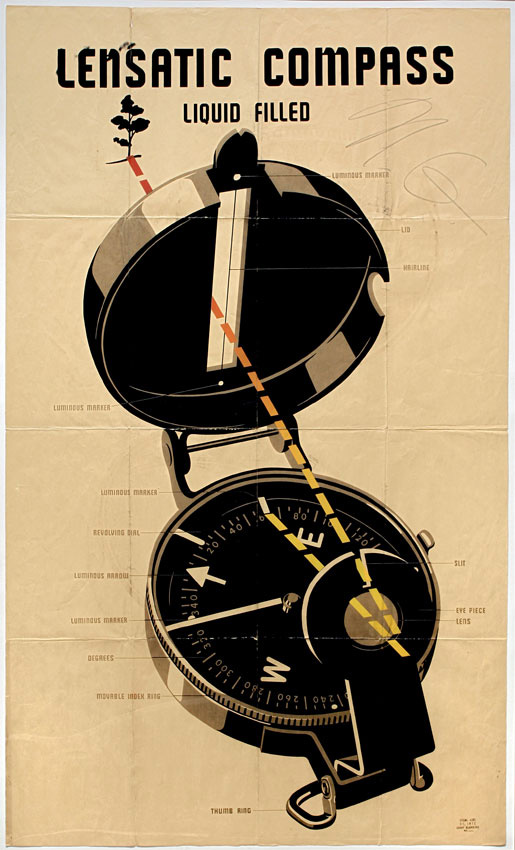 Philip Pearlstein. Lensatic Compass [#27], 1943. Silkscreen print, 152.5 x 90.9 cm (60 x 35 7/8 in).