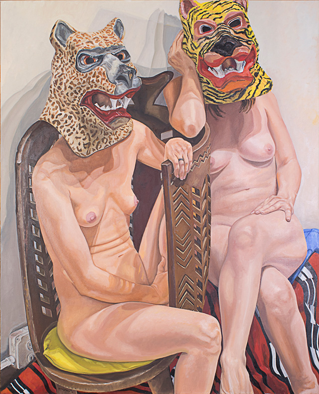 Philip Pearlstein. Two Models in Masks with African Chair, 2015. Oil on canvas, 152.5 x 121.9 cm (60 x 48 in).
