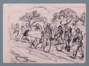Philip Pearlstein. Soliders (Monte Cassino, Italy), 1944. Ink on paper, 12 x 15.7 cm (4 3/4 x 6 1/8 in).