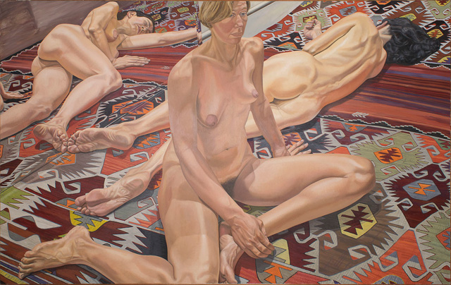 Philip Pearlstein. Two Models and Reflections, 1985. Oil on canvas, 152.5 x 243.8 cm (60 x 96 in).