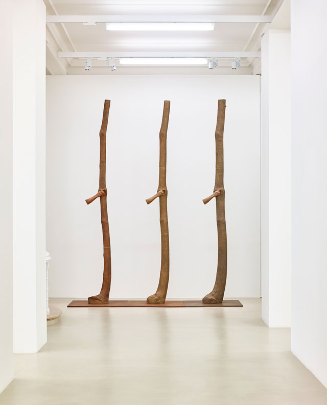 Giuseppe Penone, Trattenere 6, 8, 12 anni di crescita (Continuerà a crescere tranne che in quel punto), 2004-2016. Three elements; bronze, each 350 x 60 x 60 cm. Courtesy of Marian Goodman Gallery.