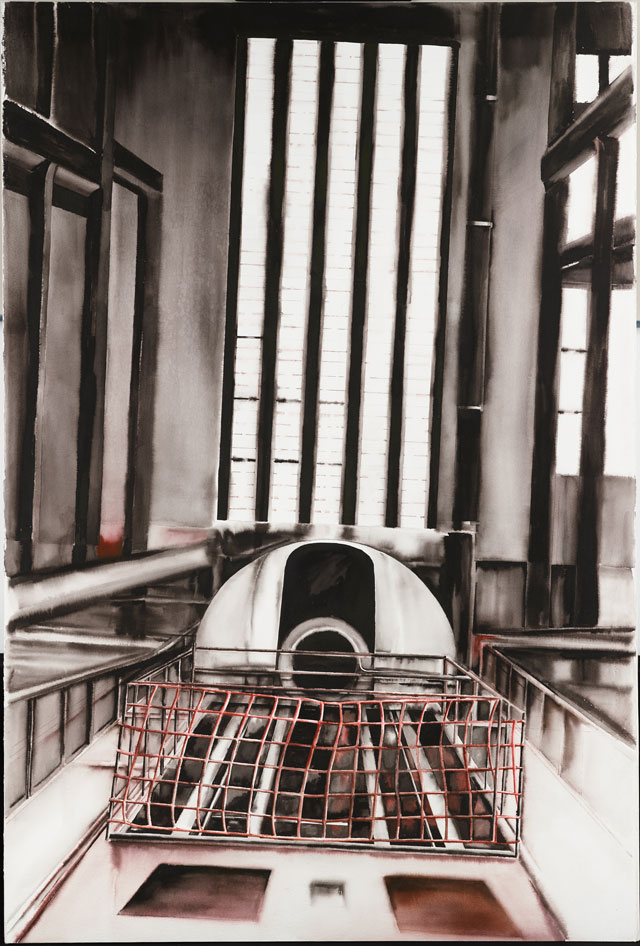 Deanna Petherbridge. Bankside in Media Res I, 1995. Pen and ink on paper, 153 x 103 cm.