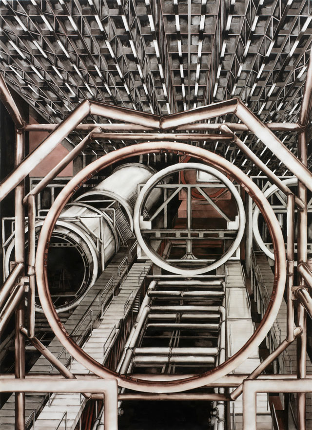 Deanna Petherbridge. Boeing Assembly Plant, 1989. Pen and ink on paper, 150 x 108 cm.