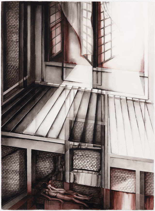 Deanna Petherbridge. The Cellar and the Attic (from Oneiric Houses), 1989. Pen and ink on paper, 150 x 110 cm.