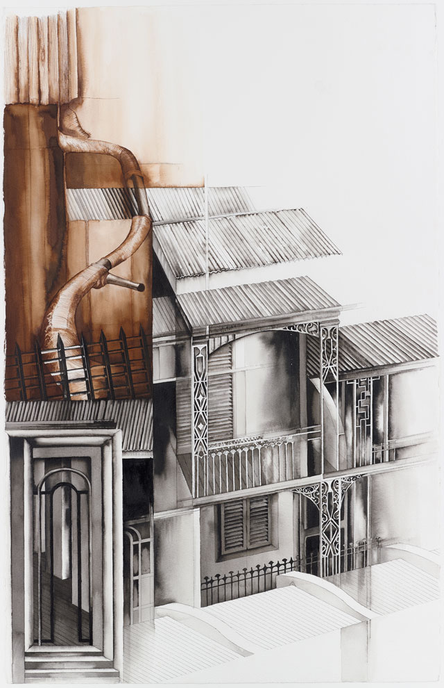 Deanna Petherbridge. Darlinghurst by the South China Sea (Sydney), 2012. Pen and ink on paper, 100 x 66 cm.