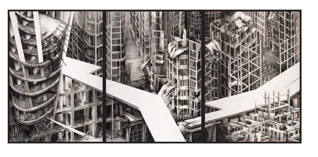 Deanna Petherbridge. The Destruction of the City of Homs, 2016. Triptych, pen and ink on paper, 106 x 228 cm (each panel 106x76cm).