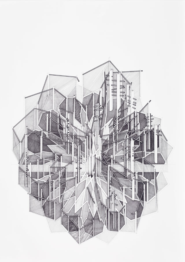 Deanna Petherbridge. Star Projection, 1977. Pen and ink on paper, 70 x 50 cm.
