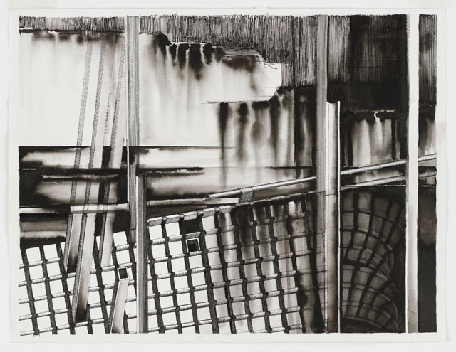 Deanna Petherbridge. The Fourteen Stations of the Tiber I, 2011. Pen and ink on paper, 36 x 47 cm.