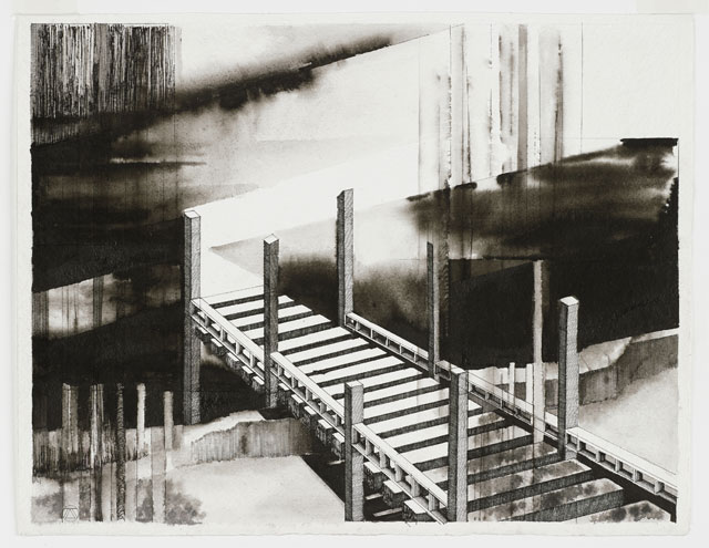 Deanna Petherbridge. The Fourteen Stations of the Tiber IV, 2011. Pen and ink on paper, 36 x 47 cm.