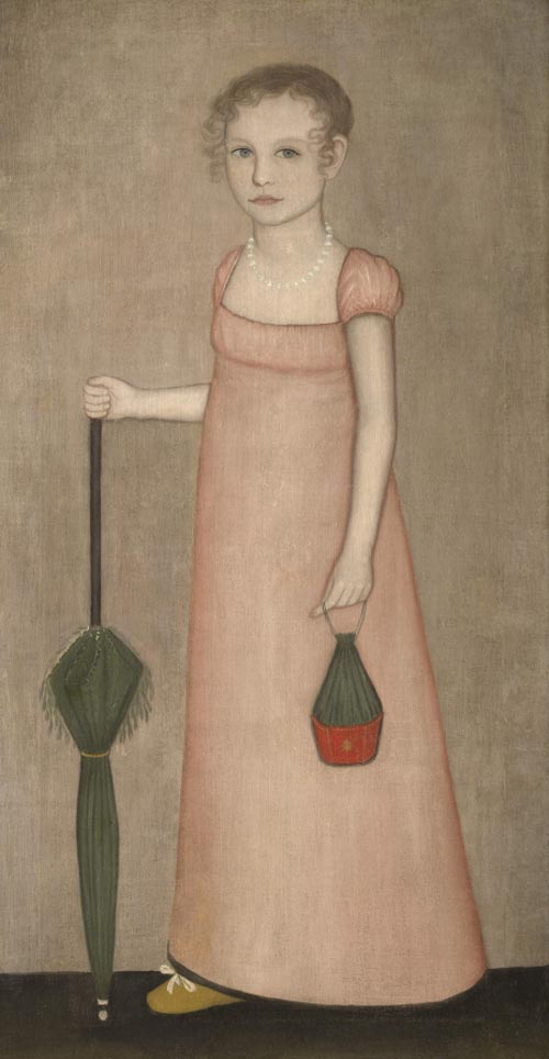 Ammi Phillips. <em>Harriet Campbell,</em> c. 1815. Oil on canvas, 48 1/2 x 25 inches (51 7/8 x 28 7/8 inches framed).  Sterling and Francine Clark Art Institute, Williamstown. Massachusetts. Gift of Oliver Eldridge n memory of Sarah Fairchild Anderson, teacher of art, North Adams Public Schools, daughter of Harriet Campbell, 1991.8. Photograph by Michael Agee, courtesy of Imaging Department ã President and Fellows of Harvard College