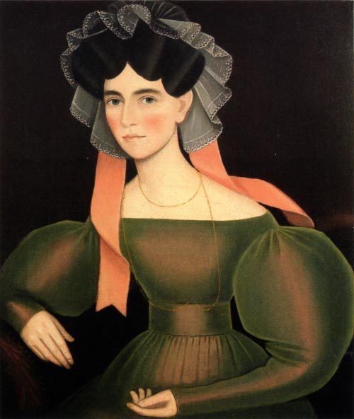 Ammi Phillips. <em>Woman with Pink Ribbons,</em> c. 1830. Oil on canvas, 32 x 27 1/2 inches. Collection of Peter and Barbara Goodman