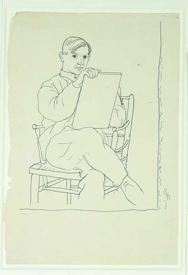 Pablo Picasso. Self-portrait, 1918–20. Pencil on paper, 12 5/8 × 8 7/16 in (32 × 21.5 cm). Private collection. Courtesy Fundación Almine y Bernard Ruiz-Picasso para el Arte. Photograph: Marc Domage © FABA. © 2015 Estate of Pablo Picasso / Artists Rights Society (ARS), New York.