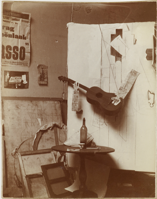 <p>Pablo Picasso. Photographic composition with <em>Construction with Guitar Player and Violin</em>, Paris, on or after January 25 and before March 10, 1913. Gelatin silver print, 4⅝ x 3 7/16 in (11.8 x 8.7 cm). Private collection.
