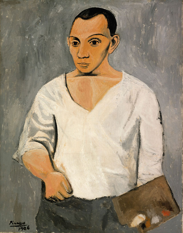 Pablo Picasso. Self-Portrait with Palette, 1906. Philadelphia Museum of Art: A. E. Gallatin Collection, 1950. Copyright: Succession Picasso/DACS, London 2016; Photograph and Digital Image Philadelphia Museum of Art © Estate of Pablo Picasso/Artists Rights Society (ARS) New York.