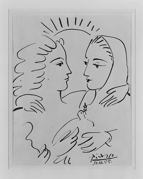 Pablo Picasso. <em>Women with a Dove (Femmes à la colombe)</em>, 1955. Indian ink on paper, 26.5 x 20.5 cm. © Collection Centre Pompidou, Dist. RMN / Droits reserves © Succession Picasso/DACS 2009.