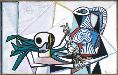 Pablo Picasso. <em>Still Life with Skull, Leeks and Pitcher (Nature morte avec crâne, poireaux et pichet)</em>. 14 March 1945. Oil on canvas image: 730 x 1159 mm (28 3/4'' x 45 5/8''). Fine Arts Museums of San Francisco © Succession Picasso/DACS 2009.