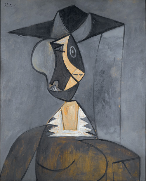Pablo Picasso  (1881-1973). <em>Woman in Grey</em>, 1942. Oil on panel 39 1/4 x 31 7/8 in. (99.7 x 81.0 cm) The Alex Hillman Family Foundation, New York &copy; 2006 Estate of Pablo Picasso/Artists Rights Society (ARS), New York