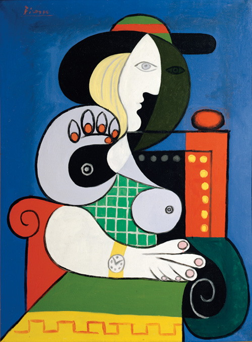 Pablo Picasso  (1881-1973).<em> Seated Woman with Wrist Watch</em>, 1932. Oil on canvas 51 3/16 x 38 3/16 in. (130 x 97 cm). Collection of Emily Fisher Landau © 2006 Estate of Pablo Picasso/Artists Rights Society (ARS), New York. Photograph by Jerry L. Thompson