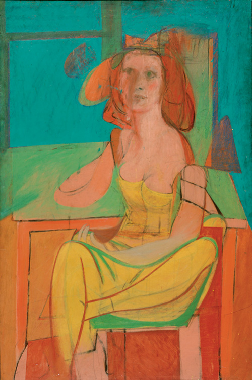 Willem de Kooning  (1904-1997). <em>Seated Woman</em>, c. 1940. Oil and charcoal on masonite 54 1/16 x 36 in. (137.3 x 91.4 cm) Philadelphia. Museum of Art: The Albert M. Greenfield and Elizabeth M. Greenfield. Collection, 1974. © 2006 The Willem de Kooning Foundation/Artists Rights Society (ARS), New York