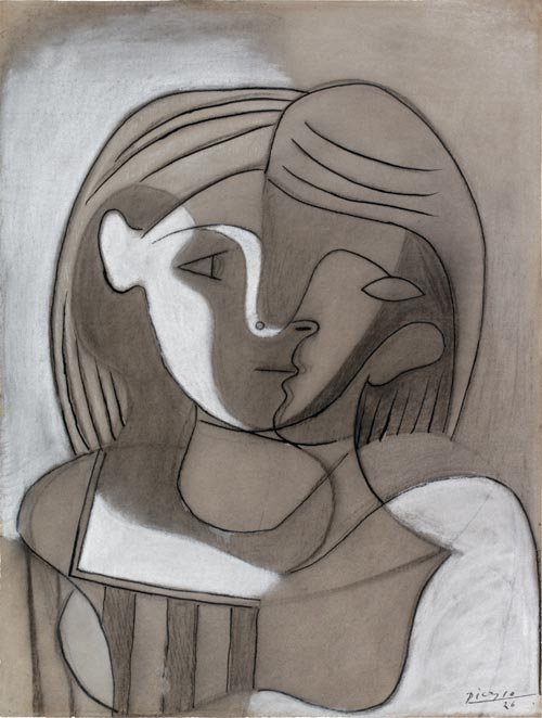 Pablo Picasso. <em>Woman, Front and Profile</em>, 1926. Pen and ink with charcoal and gouache, 62 x 47 cm. Graphische Sammlung, Staatsgalerie Stuttgart. © Succession Picasso/DACS 2007